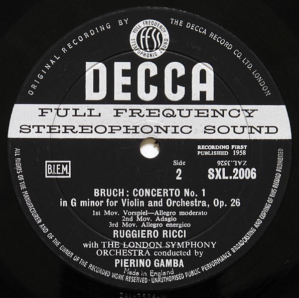 Mendelssohn Bruch Concertos Violon Ricci Gamba