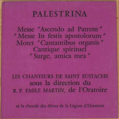 Palestrina Messes Motet Cantique Saint-Eustache