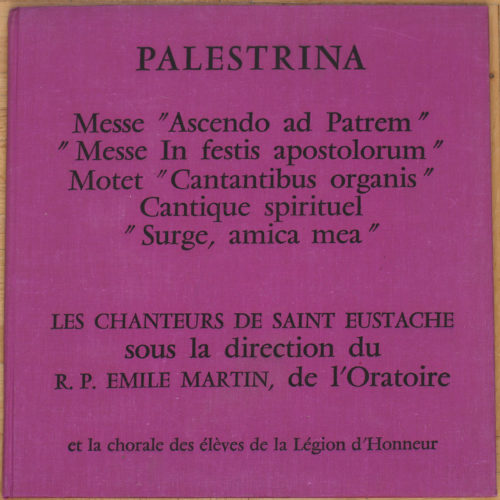 Palestrina Messes Motet Cantique Saint-Eustache
