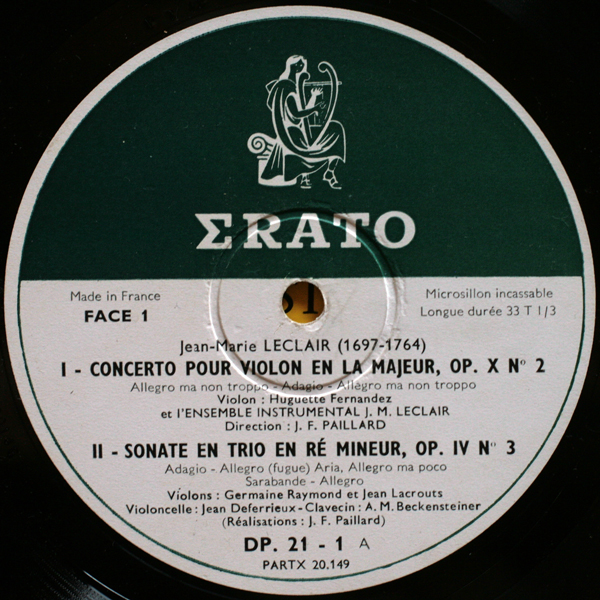 Erato | Records | LP | Vinyl | Label Guide | Références | France