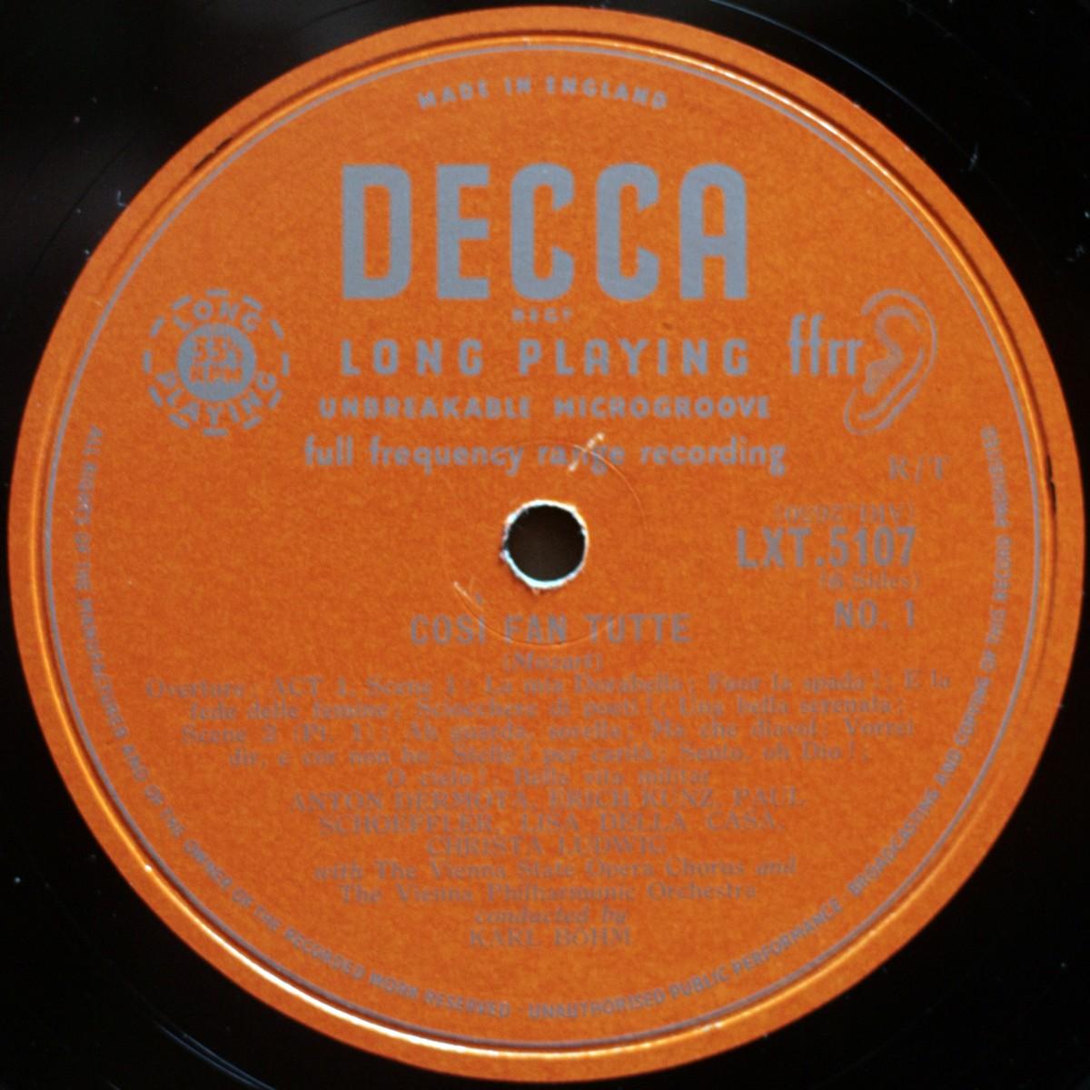 Mozart Cosi Fan Tutte Della Casa Bohm Decca LXT 5107/8/9
