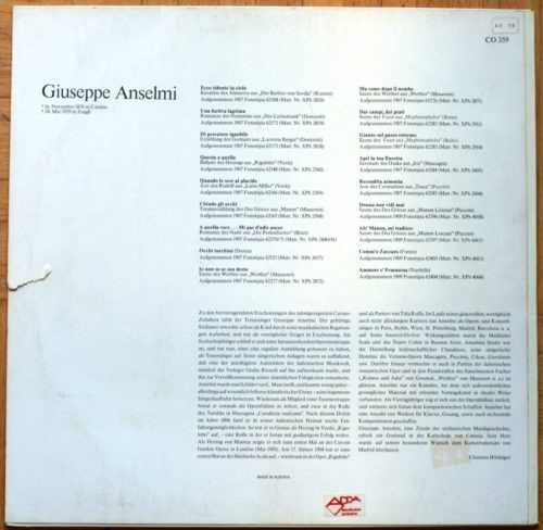 Giuseppe Anselmi Rossini Donizetti Verdi Massenet Bizet Boïto Mascagni Puccini