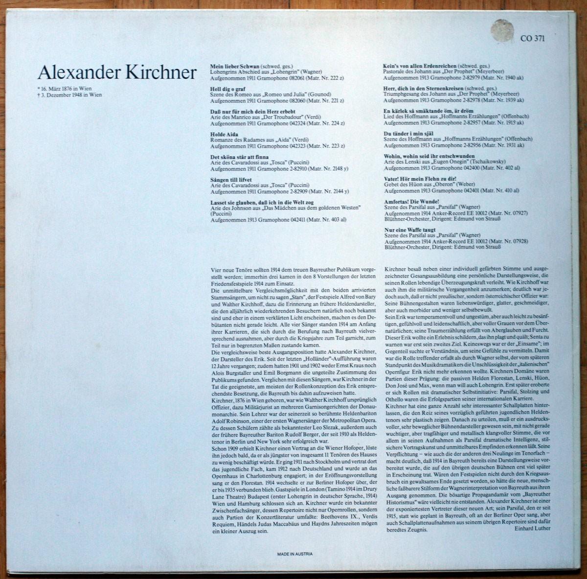 Alexander Kirchner Wagner Gounod Verdi Puccini Meyerbeer Offenbach Tchaikovsky Weber
