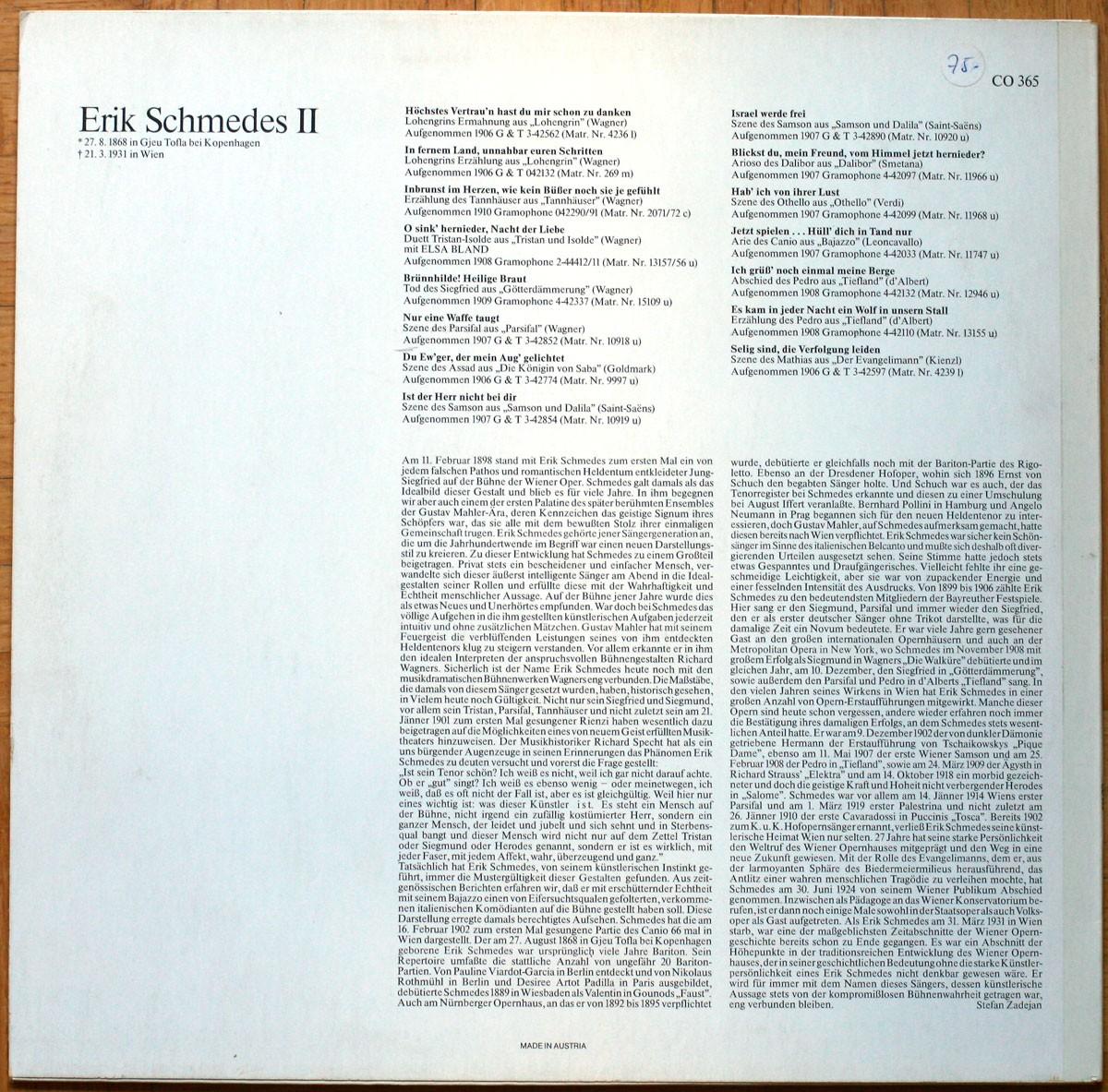 Erik Schmedes Vol. 2 Wagner Goldmark Saint-Saëns Smetana Verdi Leoncavallo d'Albert Kienzl