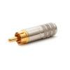 Switchcraft 3502AAU RCA straight phono plug • Male • Nickel handle • Gold plug