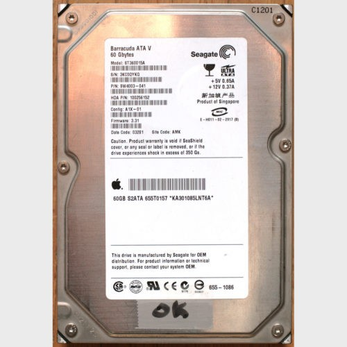 "Seagate • Apple Macintosh • Disque dur • Hard drive • Barracuda • 3.5"" • 60 Go • ATA V • IDE • 7200 r.p.m."