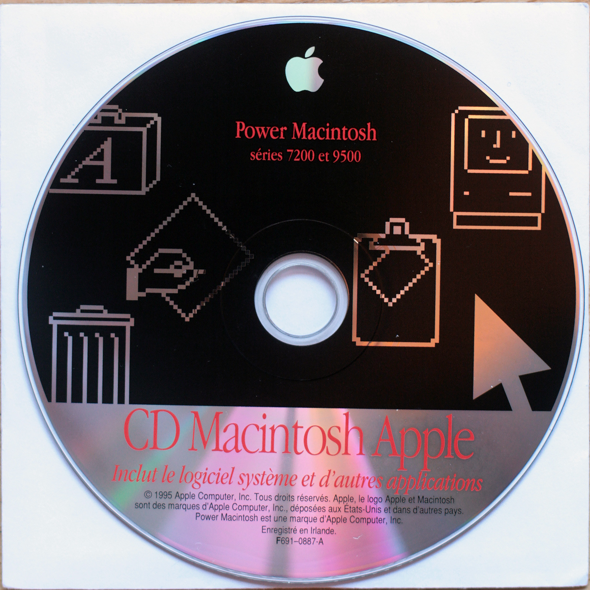 Apple Macintosh • PowerMacintosh 7200 & 9500 • CD d'installation • Install software • OS 7.5.3 • Francais • 1995