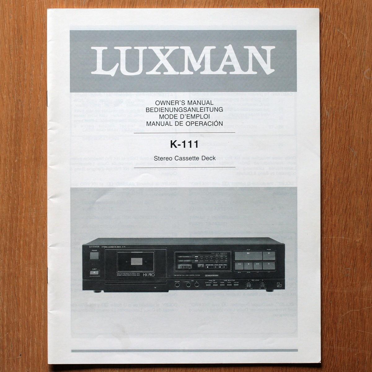 Luxman • Magnétophone à cassettes • K-111 • Manuel utilisateur • User manual • Bedienungsanleitung • Manual de operación
