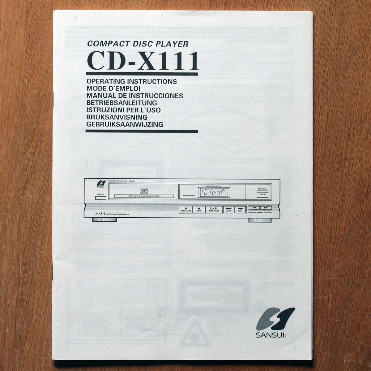 Sansui • Lecteur CD • CD-X111 • Manuel utilisateur • User manual • Bedienungsanleitung • Manual de instrucciones • Instruzioni per l'uso