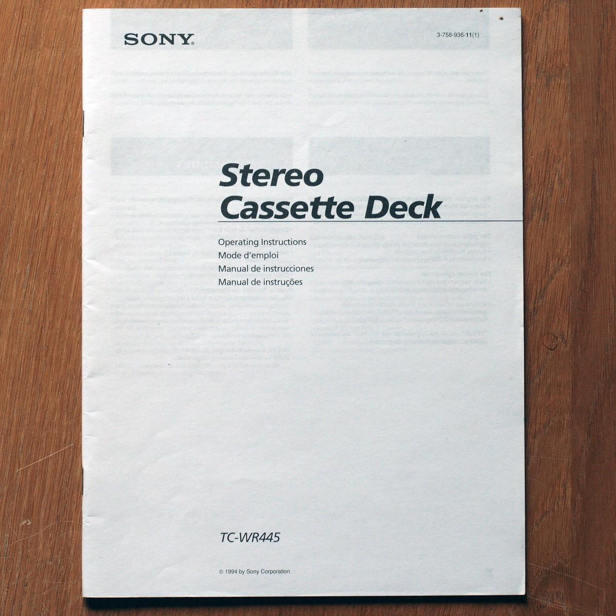 Sony • Magnétophone à cassettes • TC-WR445 • Manuel utilisateur • Operating instructions • Manual de instrucciones • Manual de instrucões